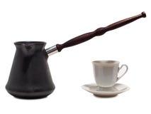 Cuvettes de café sur le blanc Image stock