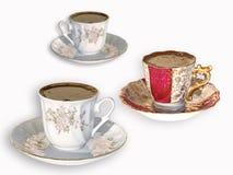 Cuvettes de café turc sur le blanc Photographie stock