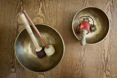 Cuvettes de chant de Tibetian, vue d'en haut ; Images libres de droits