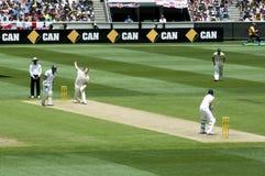 Cuvettes de lanceur au batteur dans le cricket d'essai Photos libres de droits