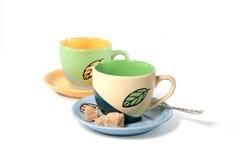 Cuvettes de thé colorées photos libres de droits