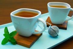 Cuvettes de thé de fines herbes Photos stock