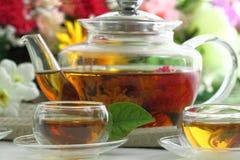 Cuvettes de thé et bac de thé Images libres de droits