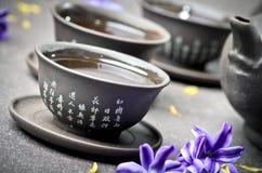 Cuvettes de thé noir Photographie stock libre de droits