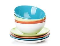 Cuvettes et plats colorés Photo libre de droits