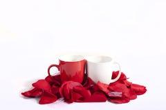 Cuvettes sur les pétales de rose rouges Images libres de droits