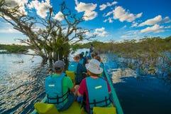 CUYABENO,厄瓜多尔- 2016年11月16日:旅行乘小船的未认出的人民入亚马逊密林的深度  库存照片