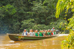 Young European Biologists In The Canoe Royalty Free Stock Image