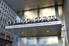 Cuyahoga County Administration Building entrance in downtown Cleveland, Ohio, USA. The Cuyahoga County Administration building in downtown Cleveland, Ohio, USA stock image