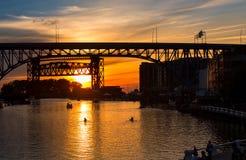 Cuyahoga solnedgång Arkivfoton