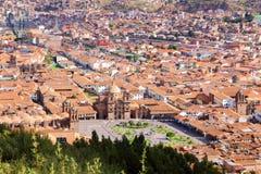 cuzco Περού Plaza de Armas, άποψη οριζόντων Στοκ Εικόνες