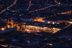 Cuzco. Vista nocturna de Cuzco no Per stock photo