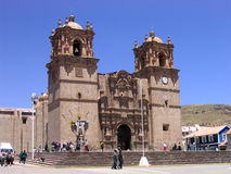 Cuzco church. The cathedral of cuzco in the mountains of peru royalty free stock photo