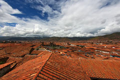 Cuzco City roofs cityscape Royalty Free Stock Photos