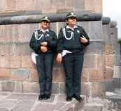 Cuzco lady guards. Two lady guards at Cuzco church Royalty Free Stock Photo