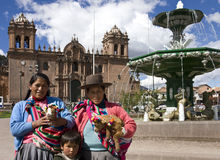 Cuzco - Local people - Peru. Local people by the Cathedral in the Plaza de Armas in Cuzco in Peru stock photo