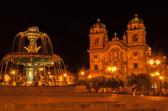Cuzco in Night. With Church and Fountain stock image