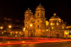 Cuzco in Night. Night Cuzco at Plazza de Armas stock image