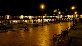 CUZCO, PERU, 08 FEBRUARY 2017: night view timelapse featuring  people walking on Plaza Mayor stock video footage