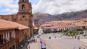 Cuzco, Peru Plaza de Armas Iglesia y catedral almacen de metraje de vídeo