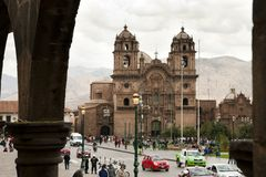 CUZCO, PERU - September 12, 2014:. Company of Jesus Church in the heart of Plaza de Armas stock photos