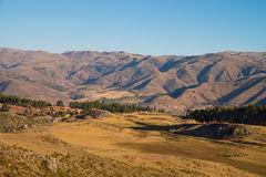 Cuzco in valley of mountain landscape Stock Image