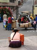 `Cuzco, Peru, January 10, 2010: woman on the street.` royalty free stock images