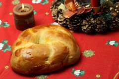 Cuzzupa (Calabrian cake) on a Christmas table Royalty Free Stock Photography