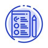 Cv, Baan, het Blauwe Pictogram van de de Gestippelde Lijnlijn van het Baanzoeken stock illustratie