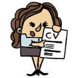 CV businesswoman. Full vector cartoon Royalty Free Stock Image