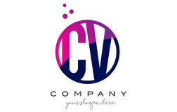 CV C V Circle Letter Logo Design with Purple Dots Bubbles Stock Images