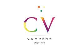 cv c v creative rainbow colors alphabet letter logo icon royalty free illustration