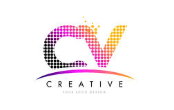 CV C V Letter Logo Design with Magenta Dots and Swoosh Stock Image