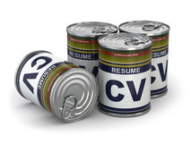 Cv can, Conceptual image of resume. Stock Images