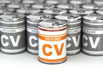 Cv can, Conceptual image of resume. Stock Photos