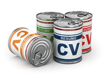 Cv can, Conceptual image of resume. Stock Photography