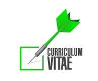 Cv, curriculum vitae check dart sign concept Stock Photo