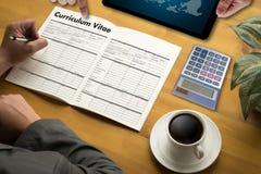CV - Curriculum vitae (conceito da entrevista de trabalho com o CV do negócio com referência a fotos de stock royalty free