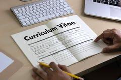 CV - Curriculum vitae (conceito da entrevista de trabalho com o CV do negócio com referência a imagens de stock