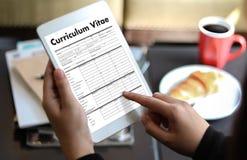 CV - Curriculum vitae (concepto de la entrevista de trabajo con el CV del negocio con referencia a Imagen de archivo