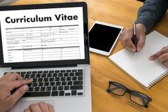 Cv - Curriculum vitae (concetto di intervista di lavoro con il cv di affari con riferimento a Fotografie Stock
