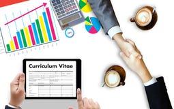 Cv - Curriculum vitae (concetto di intervista di lavoro con il cv di affari con riferimento a Immagine Stock