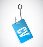 Cv, curriculum vitae hook sign concept Stock Photos