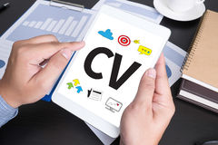 CV - Curriculum Vitae  (Job interview concept with business CV r. Esume Royalty Free Stock Photos