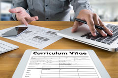 CV - Curriculum Vitae (Job interview concept with business CV re. Sume) , BUSINESS OFFICE BUSINESSMAN WORKING  application job Royalty Free Stock Photography