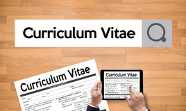 CV - Curriculum Vitae (Job interview concept with business CV re. Sume) , BUSINESS OFFICE BUSINESSMAN WORKING  application job Stock Image