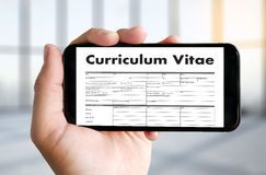 CV - Curriculum Vitae (Job interview concept with business CV re Stock Photo