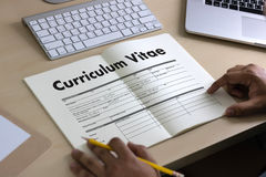 CV - Curriculum Vitae (Job interview concept with business CV re. Sume) , BUSINESS OFFICE BUSINESSMAN WORKING application job Stock Images