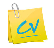 cv, curriculum vitae memo post sign concept Royalty Free Stock Image
