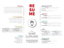 Cv de minimaliste, résumé avec la conception simple, illustration stock